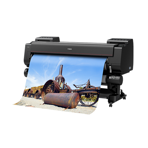 Canon-PRO-6100-Front-Right-Slant-View-On-Stand-With-Second-Roll-And-Print