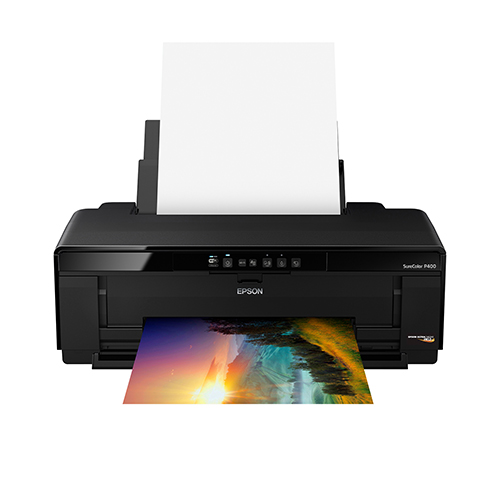 Epson-SureColor-P400-Front-View-Paper Feed Open Printing