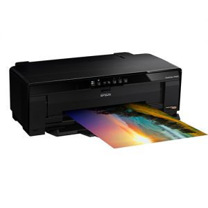Epson-SureColor-P400-Printing-With-Feeder-Closed-Left-Front-Corner-View