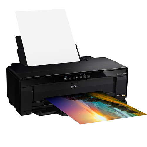 Epson-SureColor-P400-Printing-With-Paper-Feed-Open-Left-Front-Corner-View