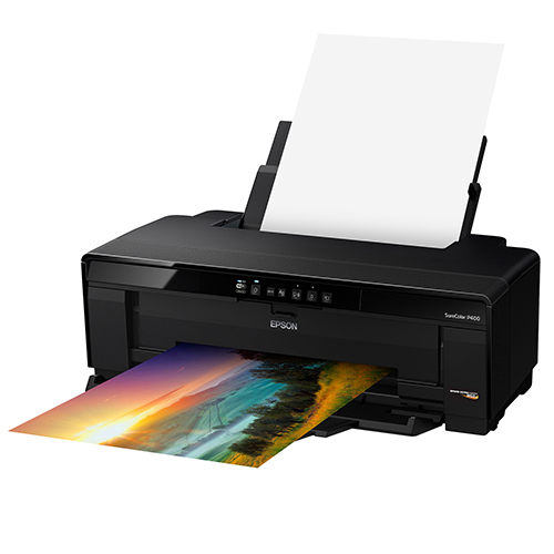 Epson-SureColor-P400-Printing-With-Paper-Feed-Open-Right-Slant-View