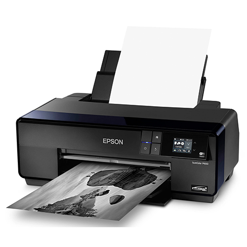 Epson-SureColor-P600-Printing-Black-And-White-With-Paper-Feeder-Feeding-Paper