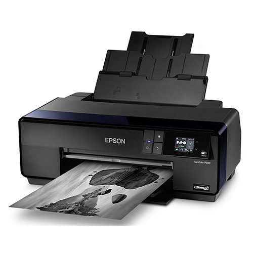 Epson-SureColor-P600-Printing-Black-And-White-Wtih-Paper-Feeder-Open