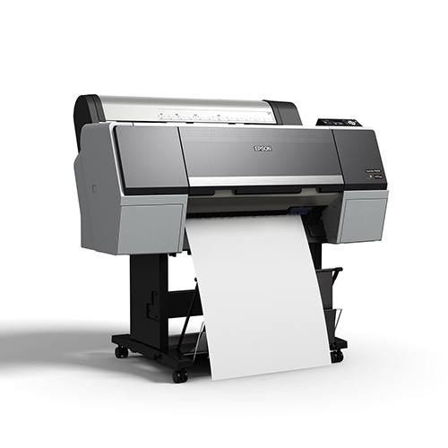 Epson-SureColor-P6000-With-Stand-And-Basket-Printing-Blank-Page-Front-Left-View