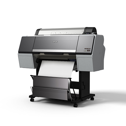 Epson-SureColor-P6000-With-Stand-And-Basket-Printing-Blank-Paper-Front-Right-Corner-View