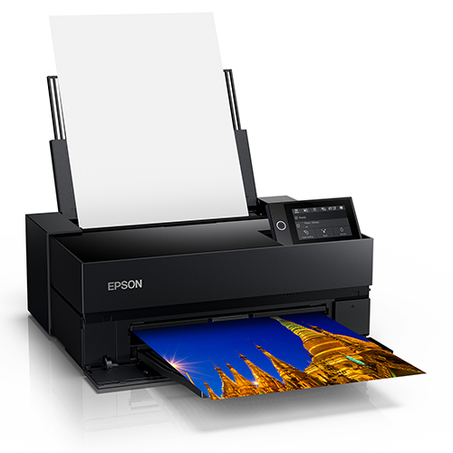 Epson-SureColor-P700-Front-Left-Corner-View-Printing-With-Paper-Feeder-Open-And-Full