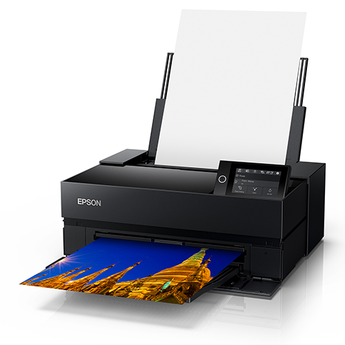 Epson-SureColor-P700--Front-Rigght-Corner-View-Printing-With-Paper-Feeder-Open-And-Loaded