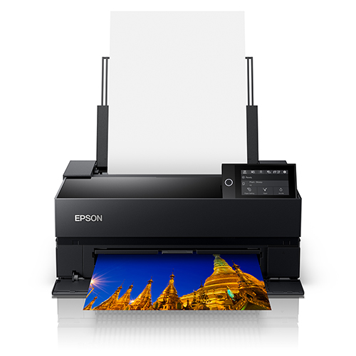 Epson-SureColor-P700-Front-View-Printing-With-Paper-Feeder-Open-And-Loaded