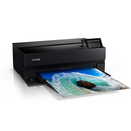 Epson-SureColor-P900-Printing-Ocean-Wave-Front-Left-Corner-View-Wtih-Screen-Up-And-Feeder-Closed