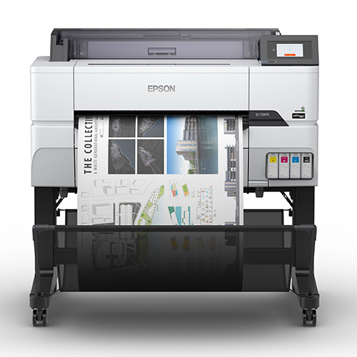 Epson-SureColor-T3475-Front-View-Printing-Into-Catch-Basket