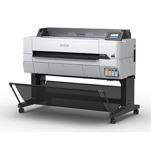 Epson-SureColor-T5475-Left-Slant-View-With-Stand-And-Catch-Basket